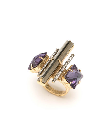 Alexis Bittar Three-Stone Fancy Baguette Cocktail Ring