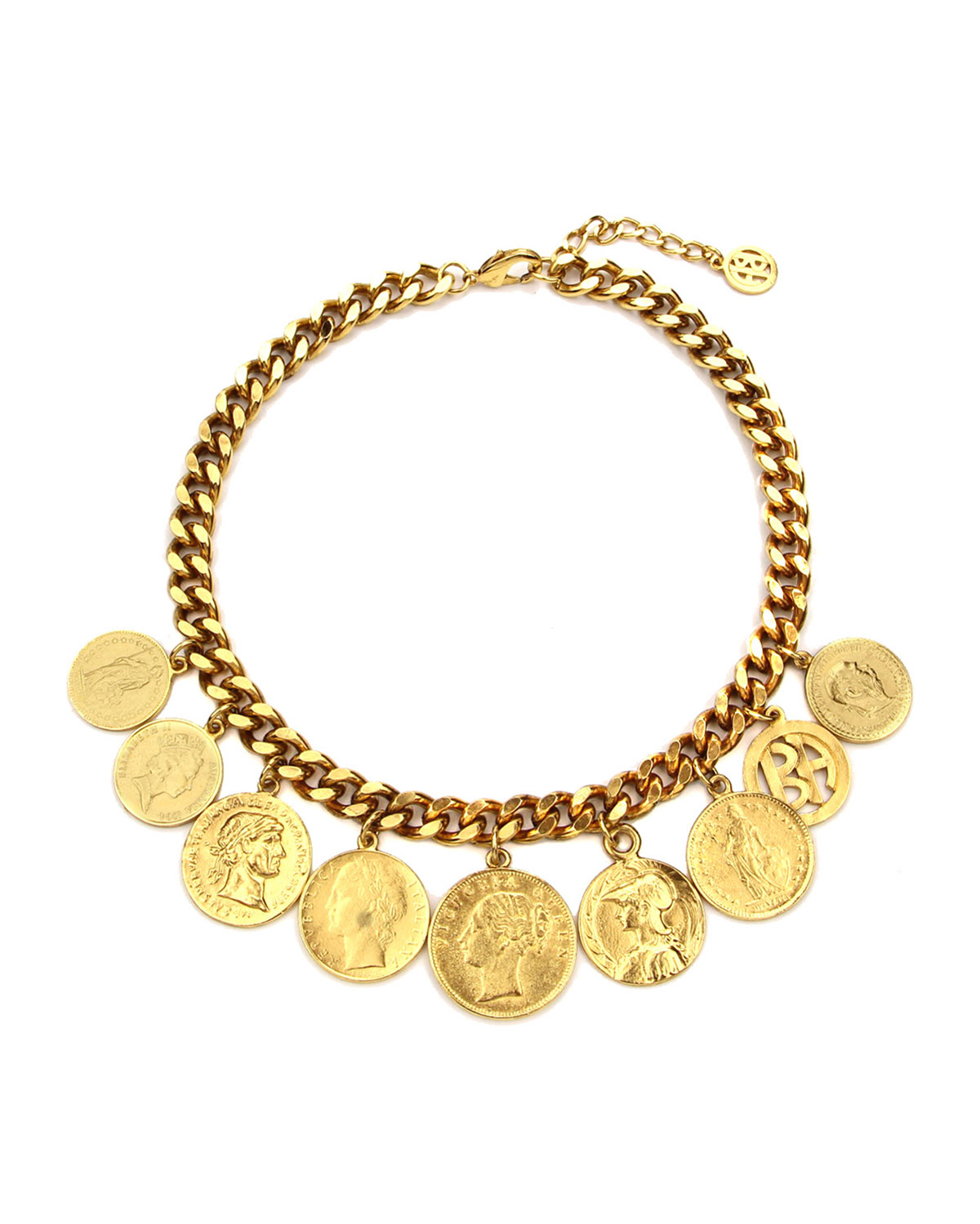 Ben-Amun Chain-Link Coin Drop Necklace