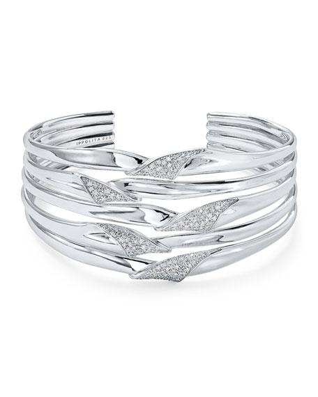 Ippolita Stardust Silver Folded Diamond Ribbon Bangle Bracelet