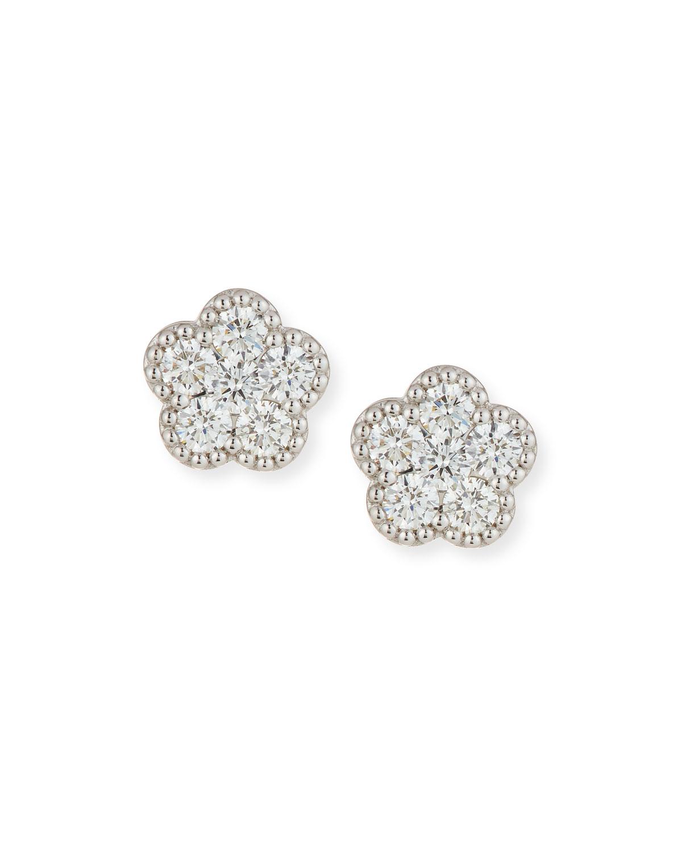 Roberto Coin 18k White Gold Diamond Flower Stud Earrings Neiman Marcus