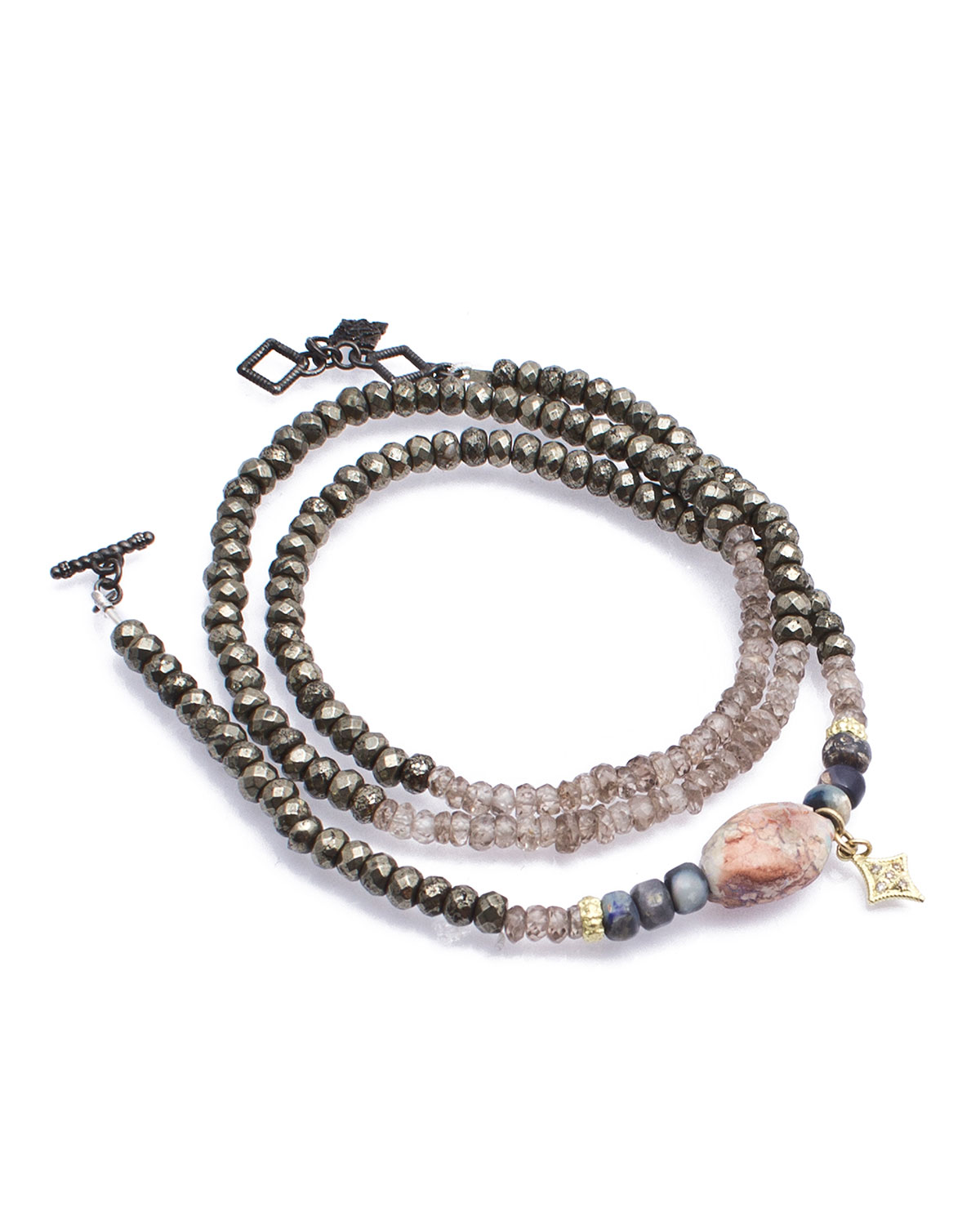 Old World Triple Wrap Pyrite Zircon Boulder Opal Bead Bracelet