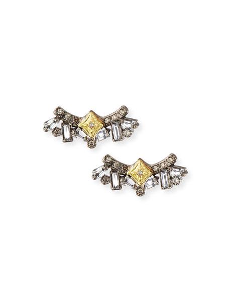 Armenta Old World Diamond & Sapphire Cluster Stud Earrings