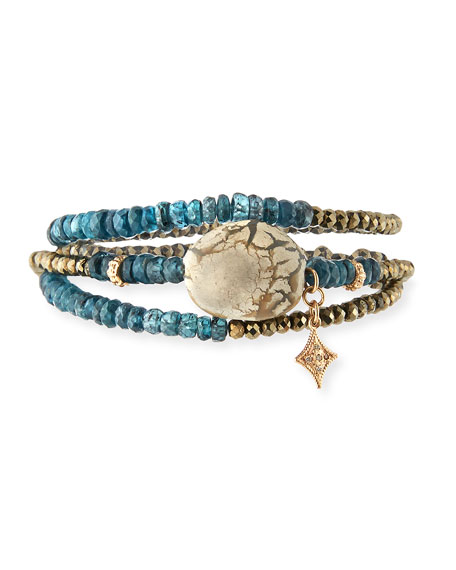 Armenta New World Triple-Wrap Kyanite, Pyrite & Opal