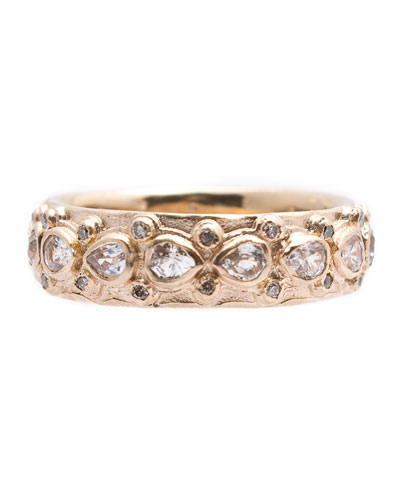 New World Pear Sapphire & Diamond Eternity Band Ring, Size 6.5