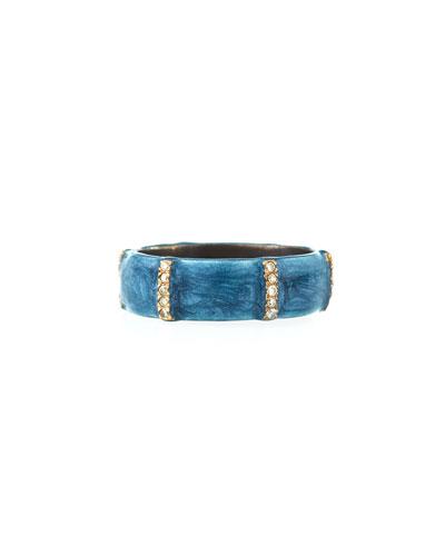 New World Wide Enamel & Diamond Ring, Size 7