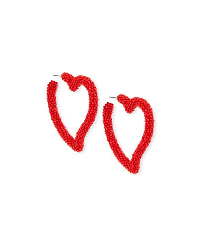 Seed Bead Heart Hoop Earrings, Gojiberry Red