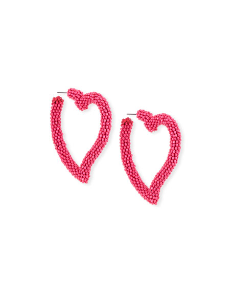 Sachin & Babi SEED BEAD HEART HOOP EARRINGS, FUCHSIA