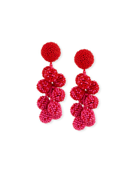 Sachin & Babi COCONUT BEADED DANGLE CLIP-ON EARRINGS