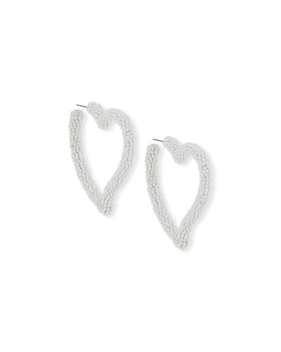 Seed Bead Heart Hoop Earrings, White