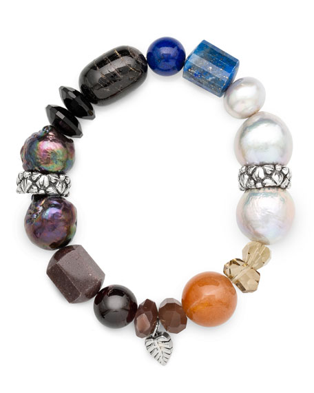 Image 2 of 2: Stephen Dweck Stone & Mixed-Pearl Stretch Bracelet