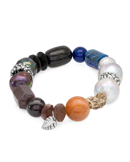 Image 1 of 2: Stephen Dweck Stone & Mixed-Pearl Stretch Bracelet