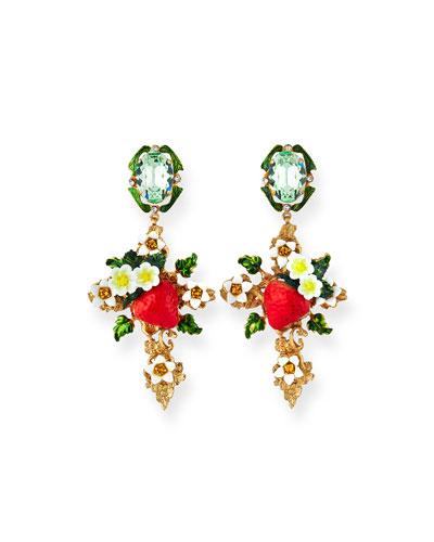 Crystal Strawberry Cross Earrings