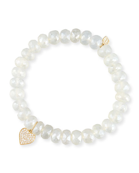 Pearly Chalcedony & Diamond Heart Bracelet in White