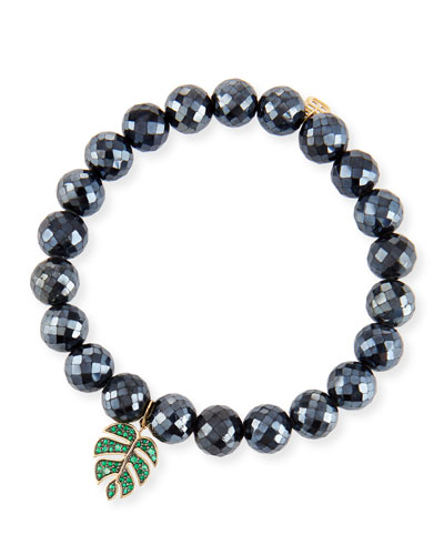 Black Spinel & Emerald Monstera Leaf Bracelet