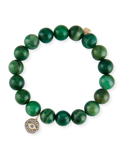 Green Verdite & Diamond Evil Eye Bracelet