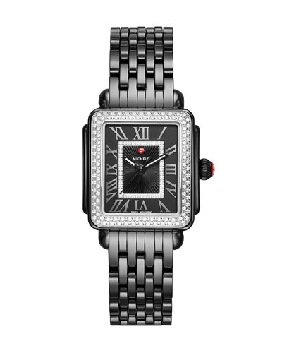 Deco Madison 16 Diamond Rectangular Ceramic Bracelet Watch, Black
