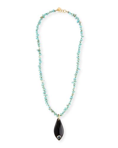Rough-Cut Turquoise Pendant Necklace