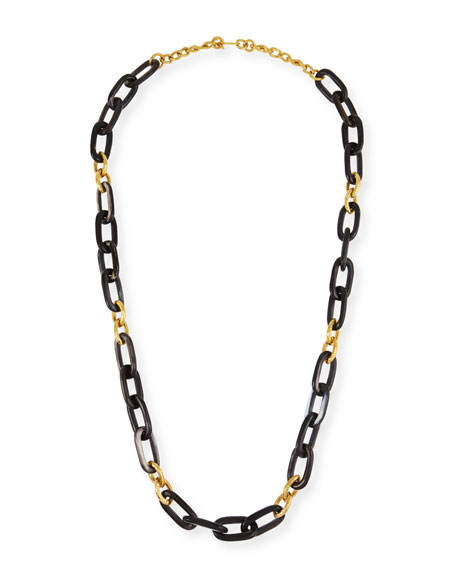 "Ashley Pittman Dark Horn & Bronze Alternating Link Necklace, 38""L"