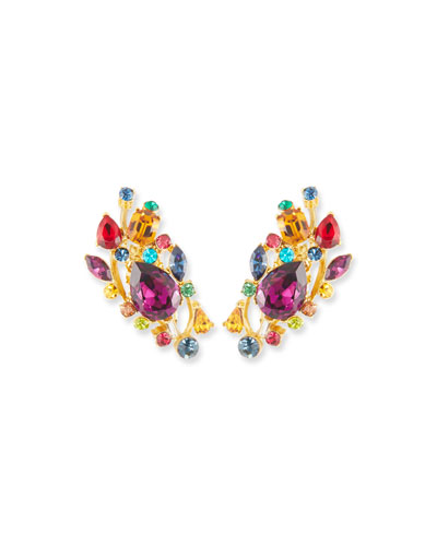 Large Multicolor Stone Clip-On Ear Climbers