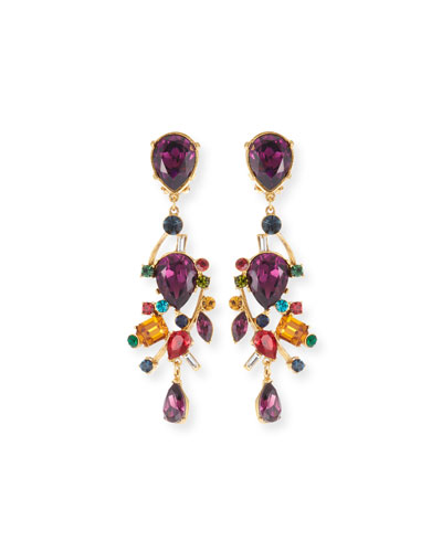 Large Multicolor Stone Clip-On Drop Earrings