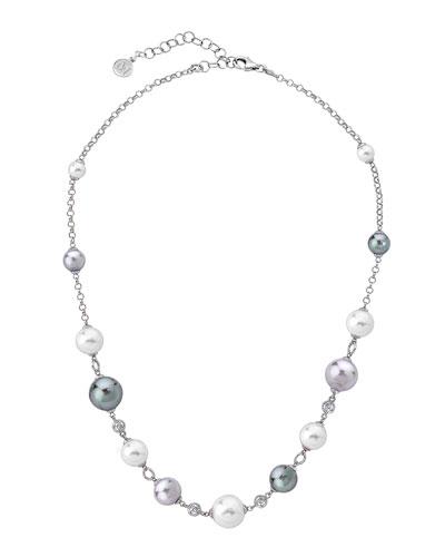 Multi-Pearl & Cubic Zirconia Necklace