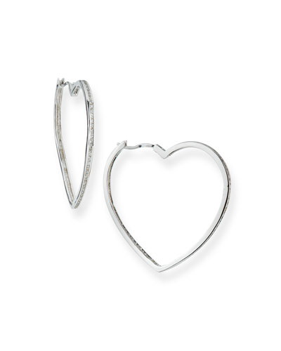 Pave Heart Hoop Earrings
