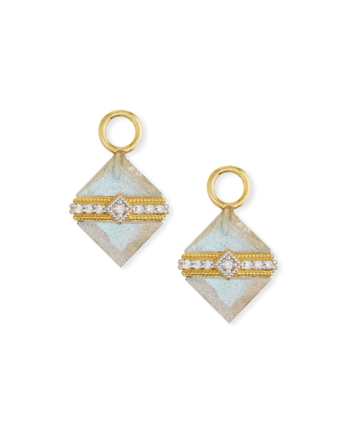 18k Gold Lisse Wred Labradorite Square Earring Charms