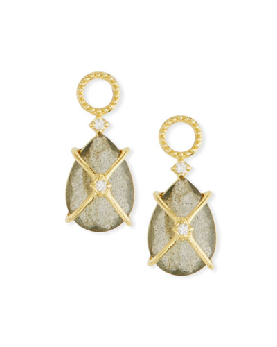 18k Gold Lisse Crisscross Labradorite Pear Earring Charms