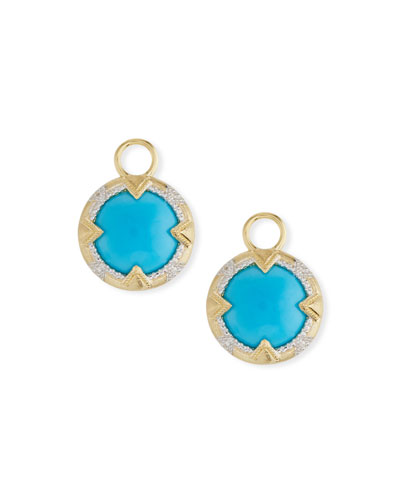 18k Gold Lisse Uptown Turquoise Earring Charms