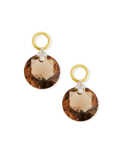 18k Gold Provence Smoky Topaz Earring Charms