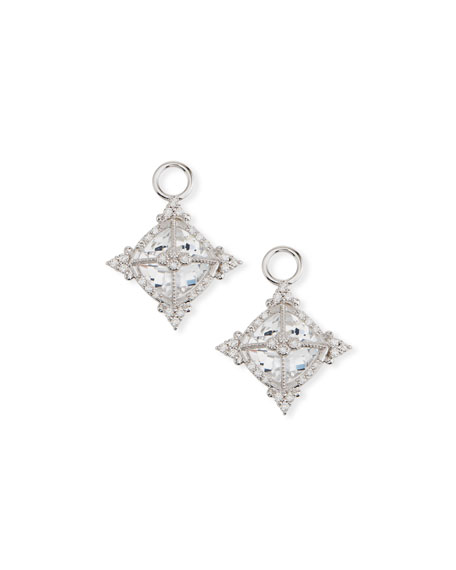 JUDE FRANCES 18K White Gold Provence Cushion Topaz Earring Charms