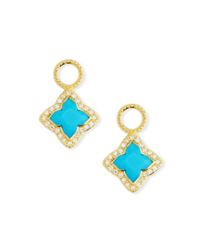 18k Gold Moroccan Turquoise Flower Earring Charms