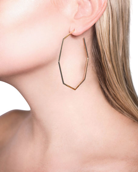 LANA 14k Gold Octagonal Hoop Earrings