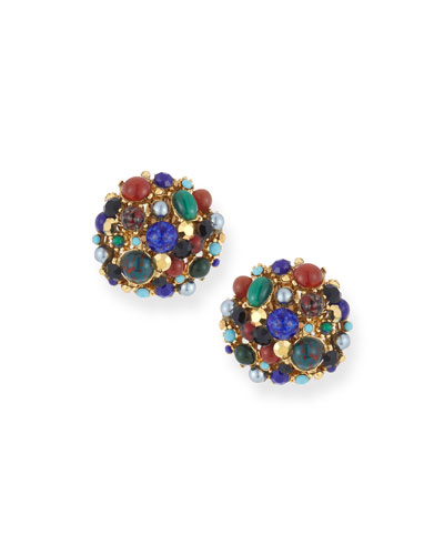 Multicolor Round Clip-On Earrings