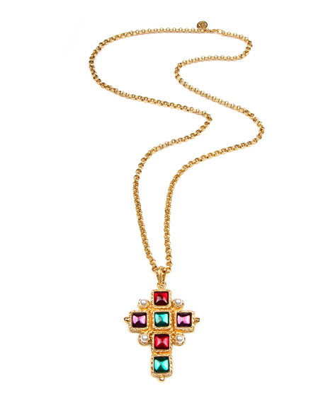 Ben-Amun Cross Pendant Necklace w/ Square Stones