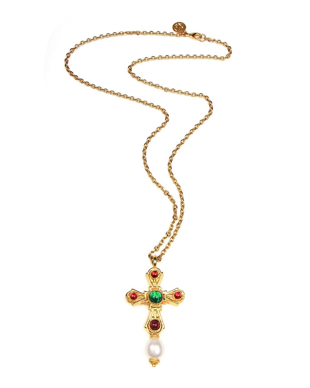 Ben-Amun Cross Pendant Necklace w/ Glass Stones
