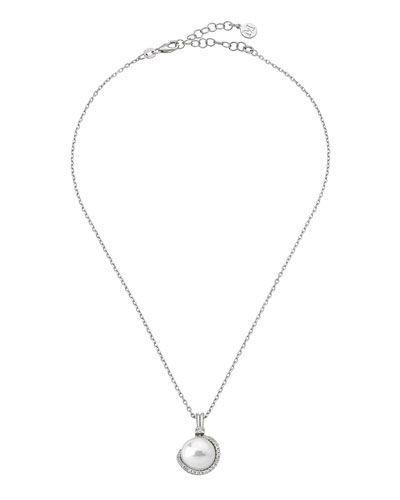 12mm Pearl & Cubic Zirconia Pendant Necklace