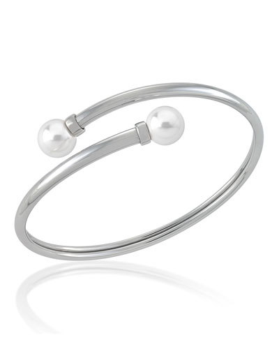 9mm Coiled Manmade-Pearl Bangle Bracelet