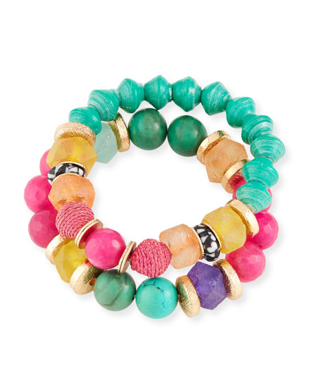Akola Rainbow Bead Bracelets, Set of 2
