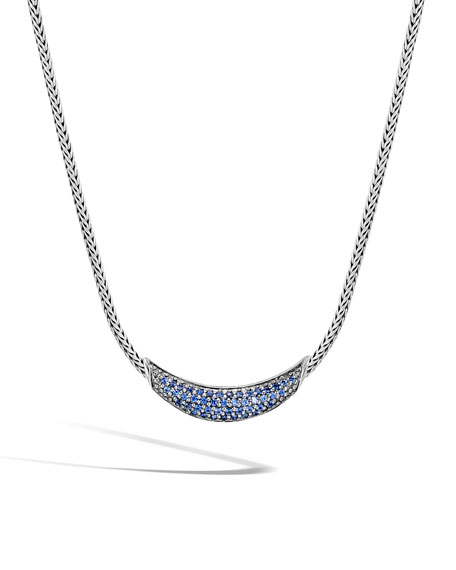 John Hardy Classic Chain Arch Necklace w/ Black Sapphires & Spinel