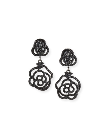 JOSE & MARIA BARRERA Crystal Rose Clip-On Drop Earrings, Jet in Black