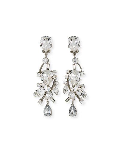Mixed-Cut Crystal Clip-On Earrings