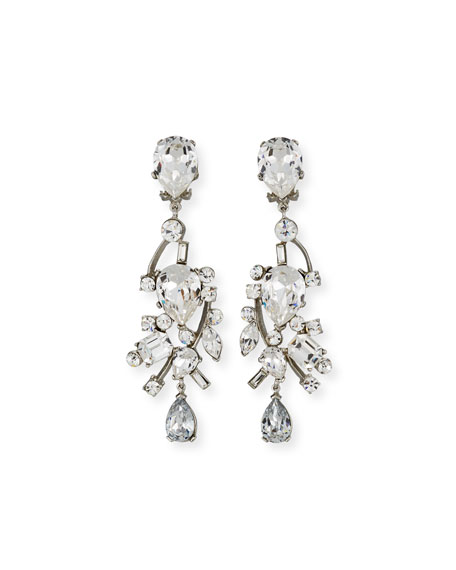 JOSE & MARIA BARRERA Mixed-Cut Crystal Clip-On Earrings in Silver