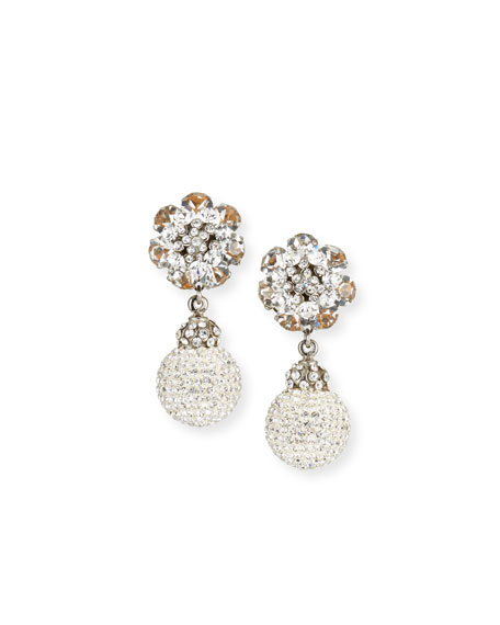 Jose & Maria Barrera Crystal Ball Clip-On Earrings