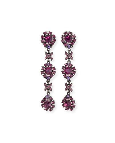 Crystal Linear Clip-On Earrings, Amethyst