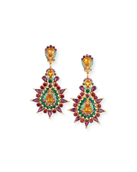 JOSE & MARIA BARRERA Multicolor Crystal Clip-On Earrings
