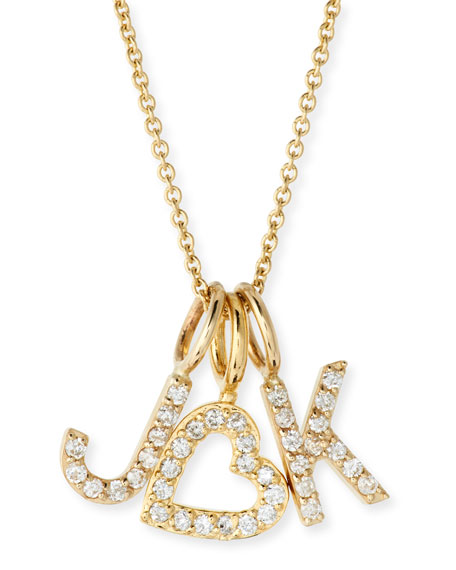 SARAH CHLOE Amelia Layered Diamond Initial Necklace in Gold