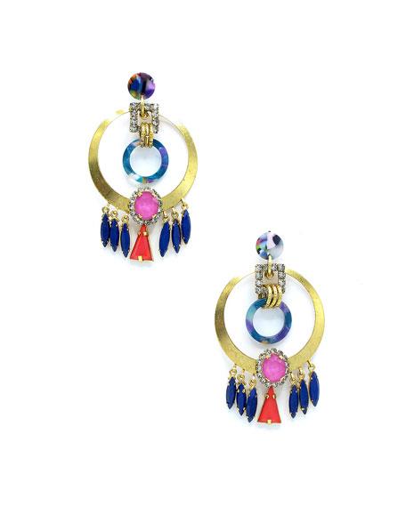 Elizabeth Cole Colla Hoop Drop Earrings