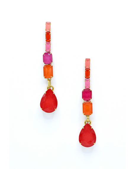 Elizabeth Cole Constance Linear Glass Drop Earrings