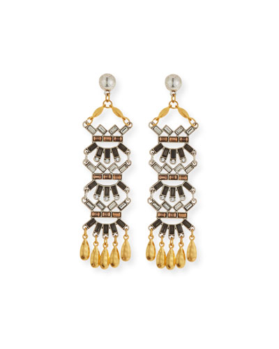 Tiered Baguette & Coin Drop Earrings